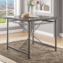Benzara BM185663 Metal Frame Counter Height Table with Wooden Top and X Shaped Support, Gray