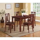 Benzara BM185669 Transitional Style Wooden Dining Set with Grid Back Chairs, Pack of Five, Brown