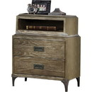 Benzara BM185676 Transitional Style Wood and Metal Nightstand with 2 Drawers, Oak Brown