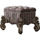 Benzara BM185696 Traditional Style Wood and Poly Resin Vanity Stool, Gray