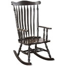 Benzara BM185745 Traditional Style Wooden Rocking Chair with Contoured Seat, Black