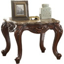 Benzara BM185779 Marble Top End Table With Motif Engraved Cabriole Legs, Brown