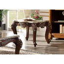 Benzara BM185783 Square Marble Top End Table With Carved Floral Motifs Wooden Feet, Brown