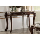 Benzara BM185784 Marble Top Sofa Table With Carved Floral Motifs Wooden Feet, Brown