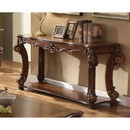 Benzara BM185792 Rectangular Sofa Table With Scrolled Leg And Bottom Shelf, Cherry Brown