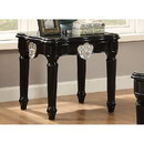 Benzara BM185794 Wooden End Table With Contrast Carved Motif Turned Legs, Black