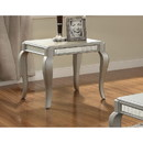 Benzara BM185807 Mirror Trim Square End Table With Wooden Cabriole Legs, Champagne Silver