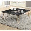 Benzara BM185819 Rectangular Marble Top Coffee Table with Metal Hairpin Legs, Gold and Black