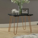 Benzara BM185820 Black Marble Top End Table With Metal Hairpin Style Legs In Gold
