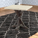 Benzara BM185823 Marble Top End Table With Wooden Tri-Pod Base, White And Espresso Brown