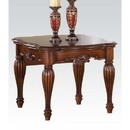Benzara BM185843 Wooden End Table with Carved Details, Cherry Brown