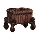 Benzara BM185873 Tufted Fabric Upholstered Wooden Vanity Stool with Scrolled Legs, Cherry Oak brown