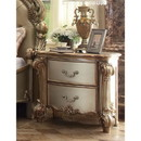 Benzara BM185901 Wooden Nightstand with Two Drawers, Gold And Bone White