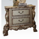 Benzara BM185906 Wooden Nightstand with Two Drawers, Gold & Bone White