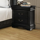 Benzara BM185915 Wooden Nightstand with Two Drawers, Black