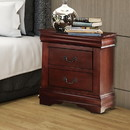 Benzara BM185918 Wooden Nightstand with Two Drawers, Cherry Brown