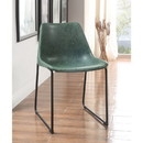 Benzara BM185930 Set of Two Metallic Side Chairs with Leather Upholstered Seat, Vintage Green & Black