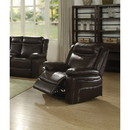 Benzara BM186084 Contemporary Style Metal and Leatherette Recliner, Espresso Brown