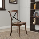 Benzara BM186225 Wood and Metal Side Chair with X-Style Back Design, Set of 2, Dark Oak Brown