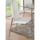 Benzara BM186227 Metal Side Chair with Leatherette Seat and Back, Set of 2, White and Silver