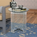 Benzara BM186246 Round Mirrored Metal End Table with Glass Top and Crystal Accent Base, Silver