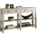 Benzara BM186297 Wooden Console Table with Four Drawers and Two Shelves, Cream