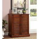 Benzara BM186393 Double Door Solid Wood Shoe Cabinet with Blocked Panel Feet, Brown