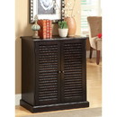 Benzara BM186394 Double Door Solid Wood Shoe Cabinet with Blocked Panel Feet, Espresso Brown