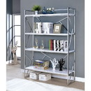 Benzara BM186423 Four Shelf Metal Bookcase with Geometric Sides And Back Design, White and Silver