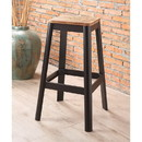 Benzara BM186909 Industrial Style Metal Frame and Wooden Bar Stool, Brown and Black