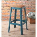 Benzara BM186910 Industrial Style Metal Frame and Wooden Bar Stool, Brown and Blue