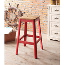 Benzara BM186911 Industrial Style Metal Frame and Wooden Bar Stool, Brown and Red