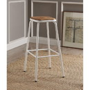 Benzara BM186917 Industrial Style Metal Frame Wooden Bar Stool, Brown and White, Set of Two