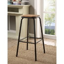 Benzara BM186918 Industrial Style Metal Frame Wooden Bar Stool, Brown and Black, Set of Two