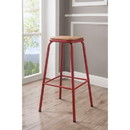 Benzara BM186919 Industrial Style Metal Frame Wooden Bar Stool, Brown and Red, Set of Two