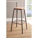 Benzara BM186920 Industrial Style Metal Frame Wooden Bar Stool, Brown and Gray, Set of Two
