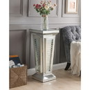 Benzara BM186945 Glass Top Pedestal Stand with Mirror Panel and Faux Crystal, Silver