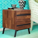 Benzara BM186959 Two Drawers Wooden End Table with Angled Leg Support, Brown and Black