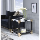 Benzara BM186968 Metal Frame Square End Table with Glass Top and Bottom, Clear and Black