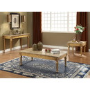 Benzara BM186978 Traditional Style Rectangular Wood and Marble Coffee Table, Gold