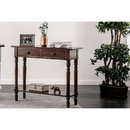 Benzara BM187165 Wooden Two Drawer and One Bottom Shelf Server with Turned Feet, Cherry Brown