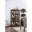 Benzara BM187168 Transitional Wooden Curio Cabinet with Two Glass Doors and Four Shelves, Oak Brown