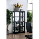 Benzara BM187169 Transitional Wooden Curio Cabinet with Two Glass Doors and Four Shelves, Black