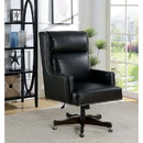 Benzara BM187182 Leatherette Office Chair with Slit Back Cushions and Nail head Trim, Black