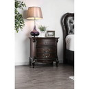 Benzara BM187260 Traditionally Designed Solid Wood Nightstand with Three Drawers and Scrolled Legs, Brown
