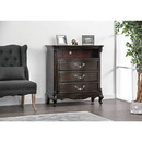 Benzara BM187261 Three Drawer Solid Wood Media Chest with Open Shelf and Scrolled Legs, Brown