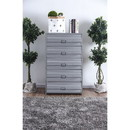 Benzara BM187264 Industrial Style 5 Drawer Metal Chest with Spacious Storage, Gray