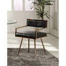 Benzara BM187475 Leatherette Upholstered Metal Dining Chair with Splayed Legs, Black and Gold