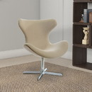 Benzara BM187492 Fabric Upholstered Lounge Chair with Metal Pedestal Base, Beige and Silver