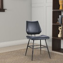 Benzara BM187619 Leather Upholstered Metal Chair with Stitch Details, Set of 2, Black